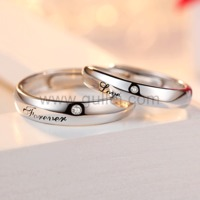 Gullei.com Forever Love Silver Unisex Couples Promise Rings For 2