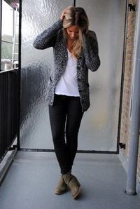 black jeans, boots & cardi for casual work
