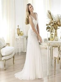 Perfect a-line off the shoulder v-neck sweep train lace wedding dress