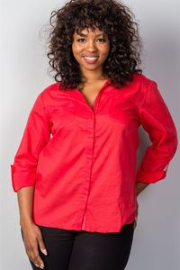 20% discount with BESTDEAL at checkout! Ladies fashion plus size red roll-sleeve plus size top $20.00