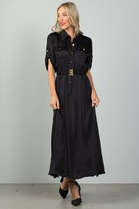 Ladies fashion button down elastic belted maxi dress $32.49