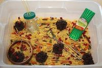 Spaghetti and Meatballs Sensory Tub (with real dried herbs sprinkled in!) Now that should stimulate some senses!