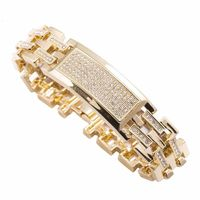 """MEN'S GOLD PLATED ICED OUT ID 8.5"""" 21MM LINK CHUNKY HIP HOP BLING BRACELET Special Features: Chunky iced out link Dimensions: Length : 8.5 inches, Width: 21mm"""