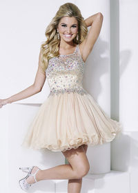 Scoop Neck Champagne A-Line Beaded Sheer Illusion Back Homecoming Dress