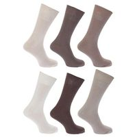 FLOSO® Womens/Ladies Plain 100% Cotton Socks (Pack of 6)
