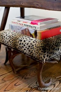 leopard & antler stool by sally wheat