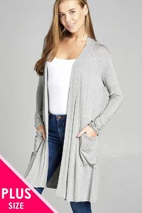 Ladies fashion plus size long sleeve open front w/pocket long length rayon spandex cardigan $29.99