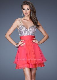 2013 La Femme 19469 Watermelon Jeweled Chiffon Party Dress