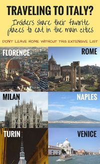 If you are traveling to Italy, and planning to vist the main cities, you wouldn't want to leave home without this list, especially if you intend to eat well. We