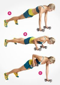 Get into a pushup position with your hands resting on dumbbells and your feet slightly more than hip-width apart (a). Brace your abs, then pull one dumbbell to