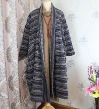 Women Blue Wool coat, Winter No buckle coat, Wool overcoat, Wool long outerwear
