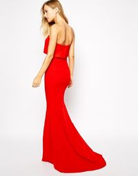 Red Strapless Maxi Dress