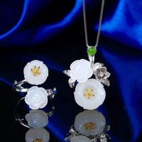 White Hetian jade Plum Necklace / 925 Silver Twig Necklace / Charm Necklaces / Gift for Women Gift /Pendants Ask a question