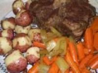 This is the best pot roast I have ever made! It does pay off to sear your roast if you have time to (I cooked the in the oven.) I did this without adding the potatoes since I made the scalloped potatoes with it. I did add the carrots. Also, instea...
