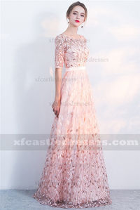 2018 Floral Embroidery Long Prom Dresses with Sleeves FFN25