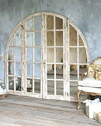 Vintage Large Shabby White Arched Top Mirrored Architectural Windows-antique,painted,display, wall, decor, office, shop,commercial,patina