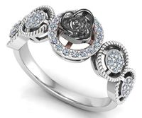 18K White gold Flower Ring Promise Ring Unique Engagement Ring with Side Diamonds Floral ring Birthday Gift For Her $975.00