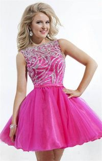 Fuchsia Short Beaded Homecoming Dresses 2014 Cheap