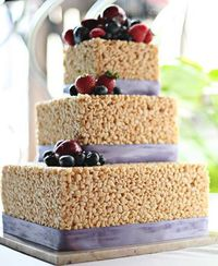 Wedding on a budget? Rice Crispy fanatic? This Rice Crispy Treat Wedding Cake might just have your name all over it. Can we say �€œToo Cute�€ already?! Kudos to Th