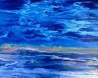 Contemporary Abstract Seascape Painting Coastal Reflections-Royal by International Contemporary Landscape Artist Kimberly Conrad, painting by artist Kimberly Conrad