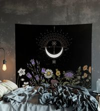 Moon Flowers Black and White Wall Hanging For Meditation $30.00