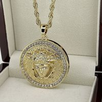 PVD Gold Round Circle 3D Medusa Pendant Necklace 30 inches Rope Chain Included £5.99