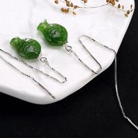 Green jasper / small fish Ear wire / jade earrings / 925 silver earrings / Dangle & Drop Earrings/threader earrings