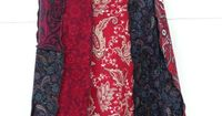 Upcycled T-shirt Skirt, Patchwork in Red and Black Cotton Paisley Prints, Small to Medium, #S206