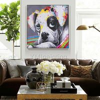 Pet Portrait Dog paintings On Canvas art acrylic abstract Animal Original impasto heavy texture palette knife Pop Art Painting wall pictures $89.00