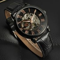 Skeleton watches mechanical men luxury brand automatic leather watchband $89.00