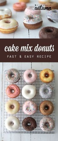 Make any flavor donuts you want with this easy cake mix donuts recipe. Donuts are baked, not fried, and they're ready in under 15 minutes!