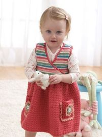 Crochet: Jumper Dress. Free pattern available. Skill: Easy Size: 18 mos., 2 yrs. and 4 yrs.