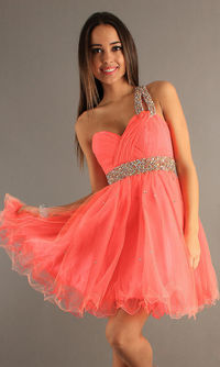 Coral Pleated Sequined Dave & Johnny 6726 One Shoulder Dress