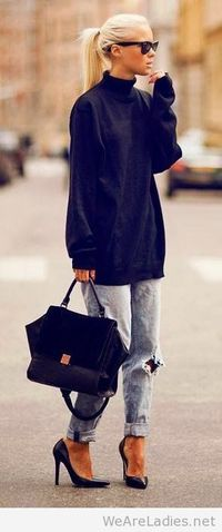 Black Sweater and jeans 2015