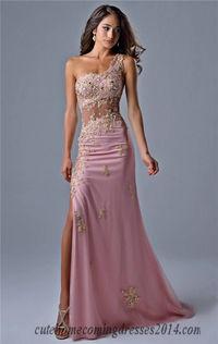 Nina Canacci 9041 Blush Sheer Midriff One Strap Slit Gown