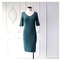 Slimming V-neck 1/2 Sleeves One Color Dress - Discount Fashion in beenono