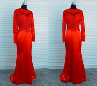 Gorgeous Mermaid High Neck Backless Red Satin Long Lace Sleeve Evening Prom Dress