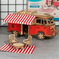 Car Model Toys 3D Wooden Puzzle Camping Van Assembly Kit $57.10