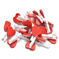 Pack of 100 Mini Wood Red Heart Pegs. Xmas, Wedding and Valentine's Love Wooden Gift Clips. £5.99