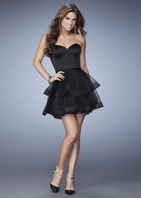 Lovely Black Sweetheart Tiered A Line Short Black Homecoming Dress