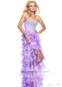 Lilac Beaded Corset Cheap High Low Prom Dresses