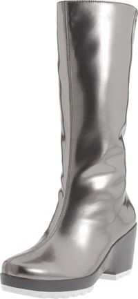 An off-beat choice, reminiscent of Valkyrie armor. Rockport Women's Lorraine Rainboot in Chrome Metallic, $66.00.