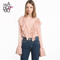 Sweet Attractive Split Front Ruffle One Color Fall Frilled 9/10 Sleeves Blouse - Bonny YZOZO Boutique Store
