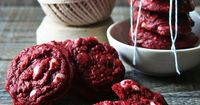 red velvet cookies with white chocolate chunks...dad will love this