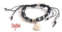 Handmade Black Cord and Silver Coloured Beads & Heart Charm Adjustable Macrame Bracelet £6.99