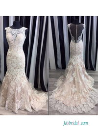 Sexy champagne lace mermaid #weddingdress