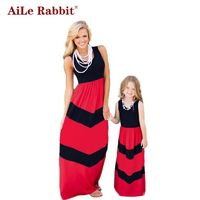 Family Matching Summer Fashion Outfits Rabbit Contrast Color Blue A-Line $45.33