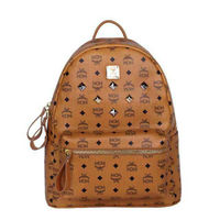 MCM Medium Stark Six Studded Backpack In Brown