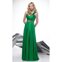 Wholesale Empire Green Beaded Chiffon One Shoulder Gorgeous Prom/evening/formal Dresses Alyce Paris 6588 - Cheap Discount Evening Gowns|Bonny Party Dresses|Charming Formal Dresses