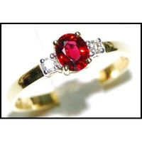 18K Yellow Gold Solitaire Ring Genuine Ruby Diamond [RS0002]